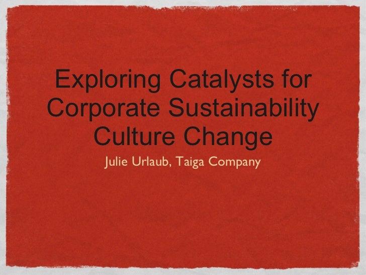 Exploring Catalysts for Corporate Sustainability Culture Change <ul><li>Julie Urlaub, Taiga Company </li></ul>