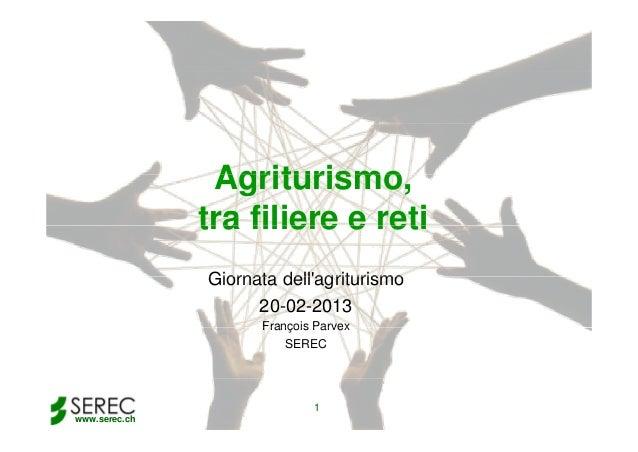 Agriturismo, Agriturismo tra filiere e reti Giornata dell'agriturismo 20-02-2013 François Parvex SEREC  1 www.serec.ch