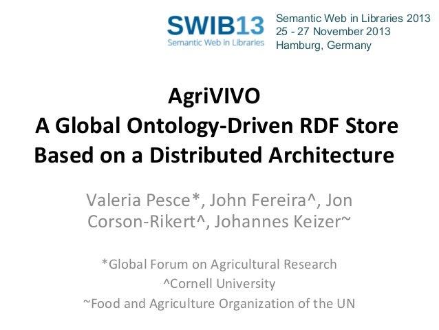 Semantic Web in Libraries 2013 25 - 27 November 2013 Hamburg, Germany  AgriVIVO A Global Ontology-Driven RDF Store Based o...