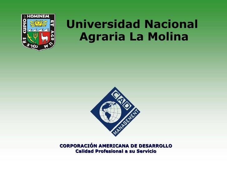 Universidad Nacional  Agraria La Molina CORPORACIÓN AMERICANA DE DESARROLLO Calidad Profesional a su Servicio
