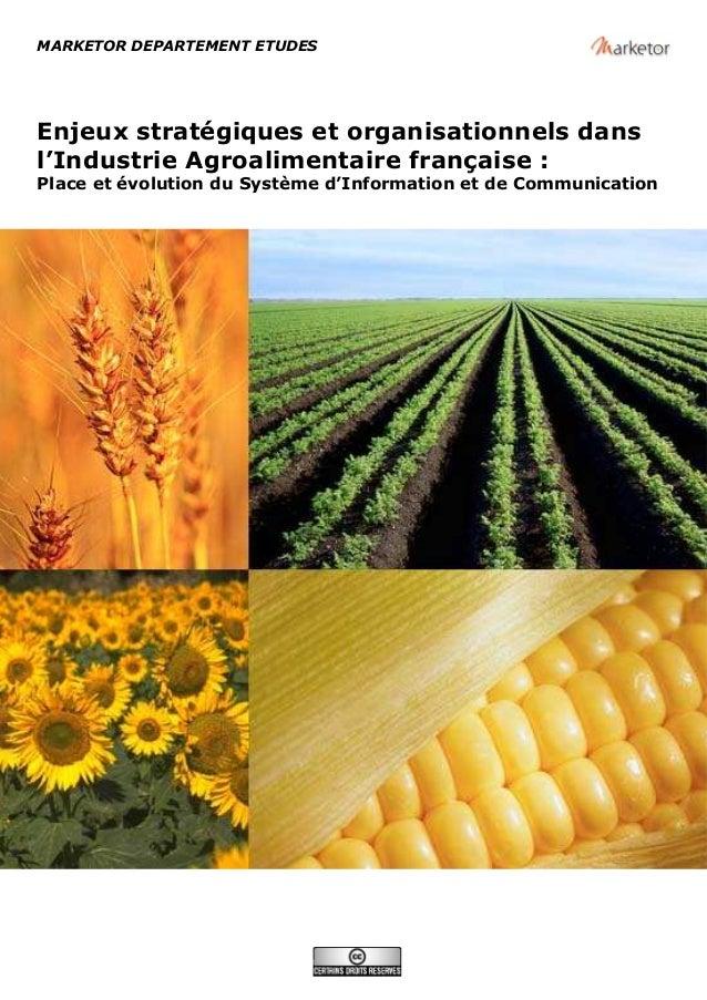 MARKETOR DEPARTEMENT ETUDES Enjeux stratégiques et organisationnels dans l'Industrie Agroalimentaire française : Place et ...