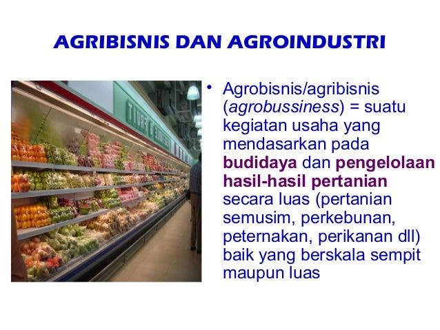 AGRIBISNIS DAN AGROINDUSTRI            • Agrobisnis/agribisnis              (agrobussiness) = suatu              kegiatan ...