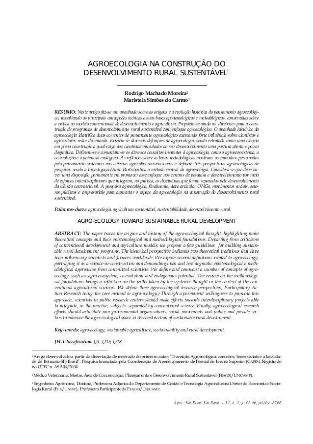 Agroecologia na contrução do desenvolvimento rural sustentável