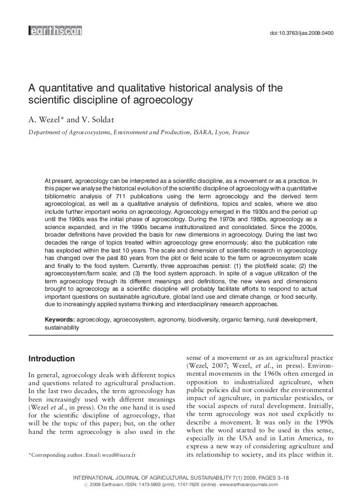 doi:10.3763/ijas.2009.0400A quantitative and qualitative historical analysis of thescientific discipline of agroecologyA. ...