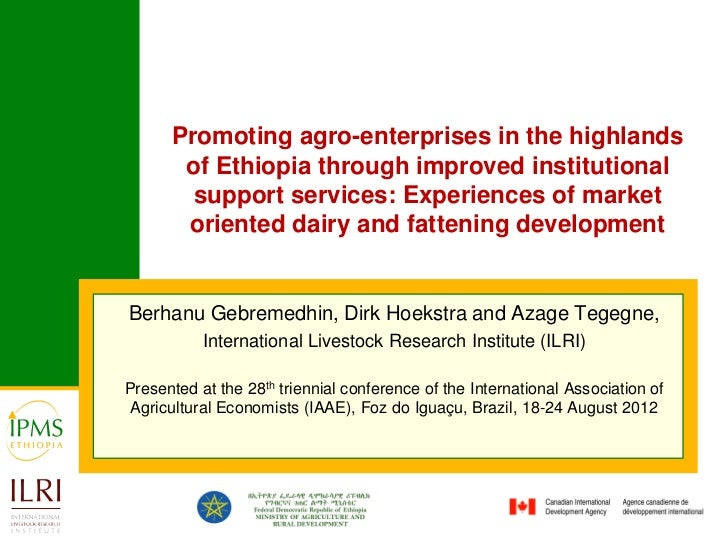 Promoting agro-enterprises in the highlands       of Ethiopia through improved institutional        support services: Expe...