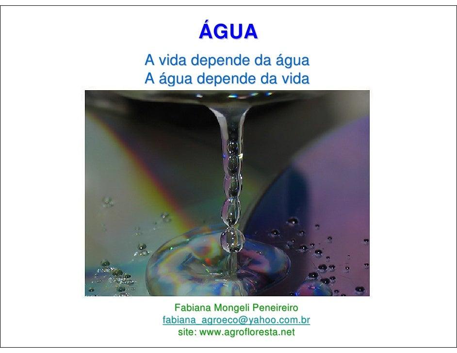 ÁGUA A vida depende da água A água depende da vida          Fabiana Mongeli Peneireiro   fabiana_agroeco@yahoo.com.br     ...