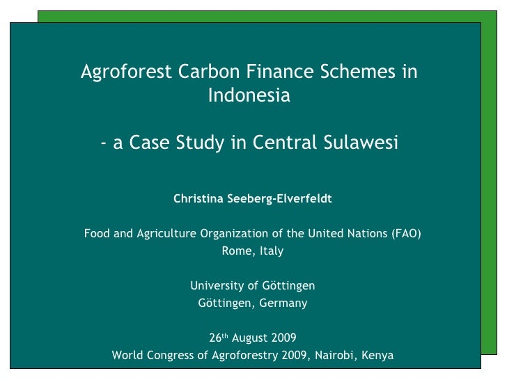 christina seeberg elverfeldt - Agroforest Carbon Finance Schemes in Indonesia - Aug 2009