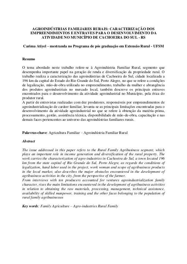 AGROINDÚSTRIAS FAMILIARES RURAIS: CARACTERIZAÇÃO DOS EMPREENDIMENTOS E ENTRAVES PARA O DESENVOLVIMENTO DA ATIVIDADE NO MUN...