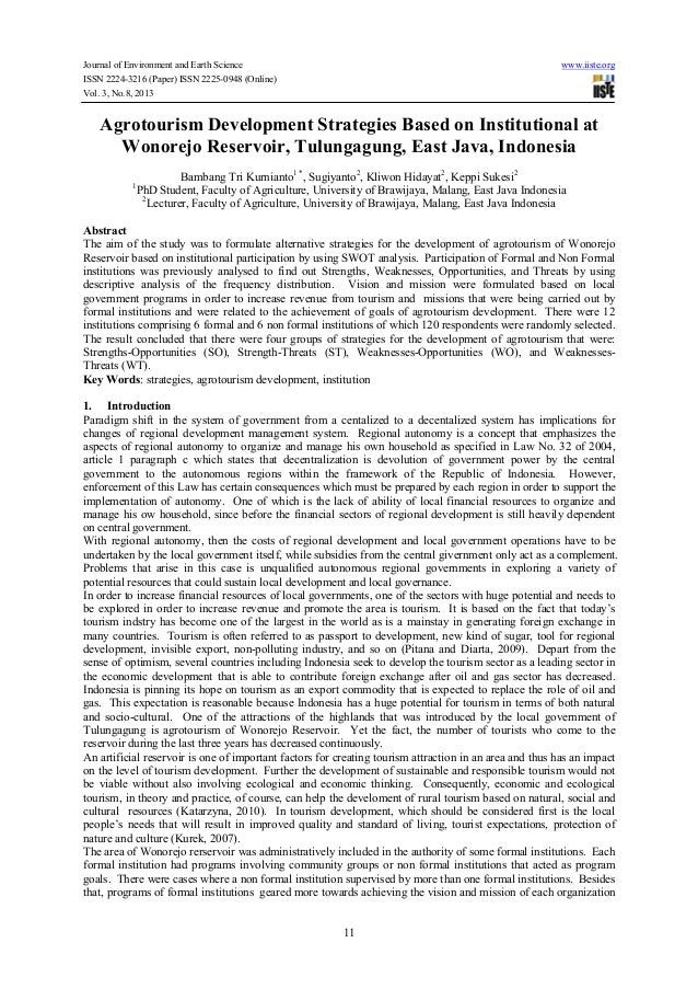Agrotourism development strategies based on institutional at wonorejo reservoir, tulungagung, east java, indonesia