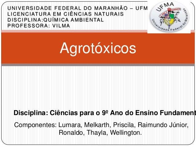Agrotóxicos UNIVERSIDADE FEDERAL DO MARANHÃO – UFMA LICENCIATURA EM CIÊNCIAS NATURAIS DISCIPLINA:QUÍMICA AMBIENTAL PROFESS...