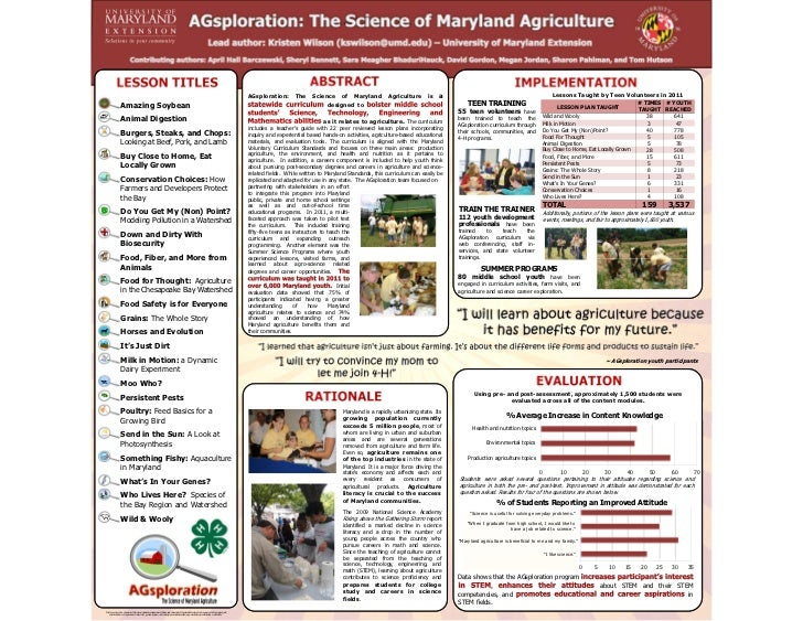 AGsploration:      The     Science of Maryland            Agriculture       is   a                                        ...