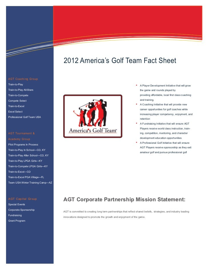 Information Technology Solutions                                    2012 America's Golf Team Fact SheetAGT Coaching GroupT...