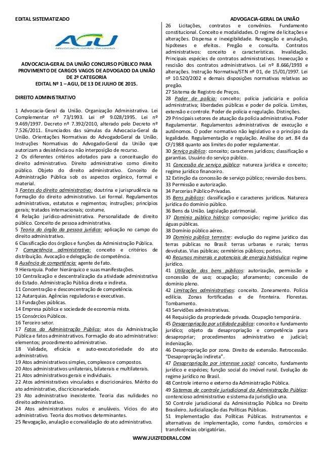 EDITAL SISTEMATIZADO ADVOGACIA-GERAL DA UNIÃO WWW.JUIZFEDERAL.COM ADVOCACIA-GERAL DA UNIÃO CONCURSO PÚBLICO PARA PROVIMENT...