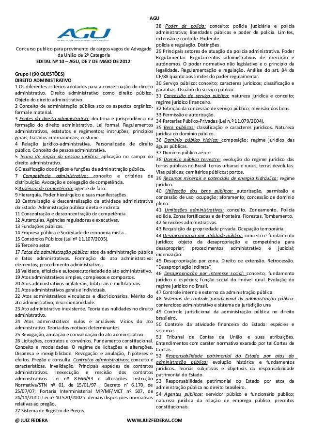 AGU Concurso publico para provimento de cargos vagos de Advogado da União de 2ª Categoria EDITAL Nº 10 – AGU, DE 7 DE MAIO...