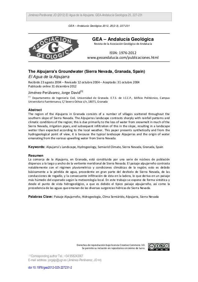 Jiménez-Perálvarez JD (2012) El Agua de la Alpujarra. GEA-Andalucía Geológica 25, 227-231                               GE...