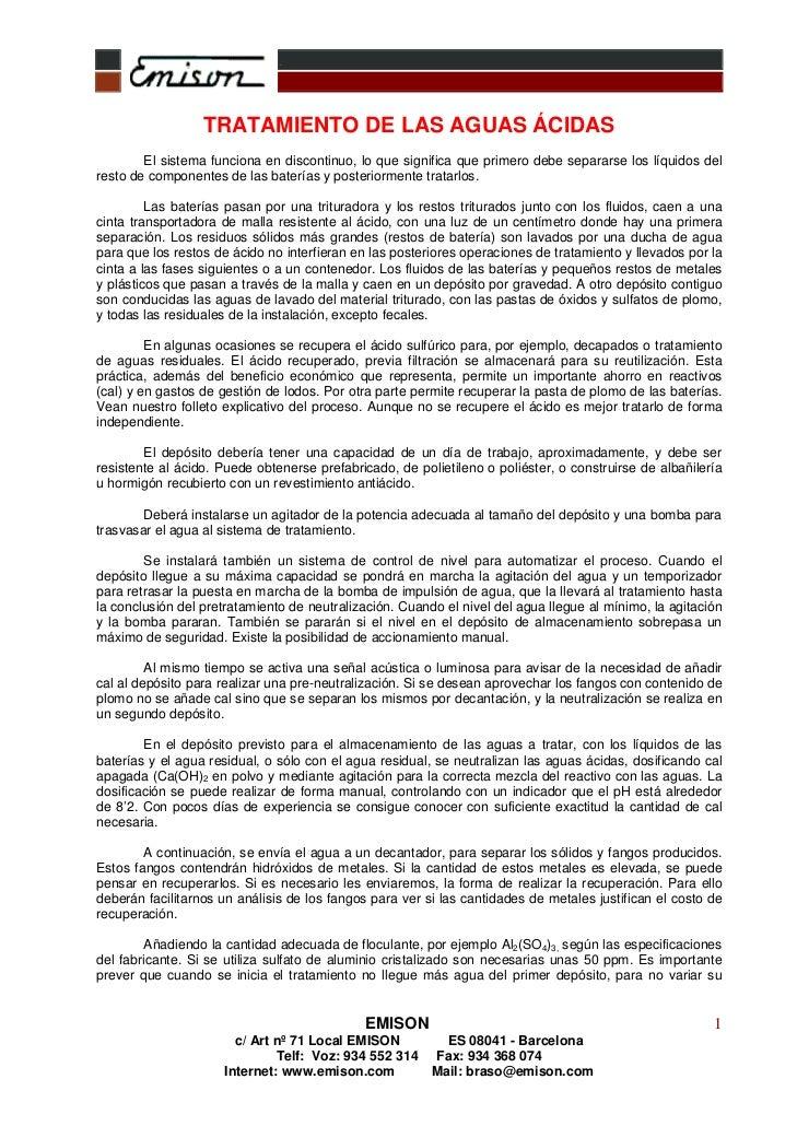 .                              ..                  TRATAMIENTO DE LAS AGUAS ÁCIDAS        El sistema funciona en discontin...