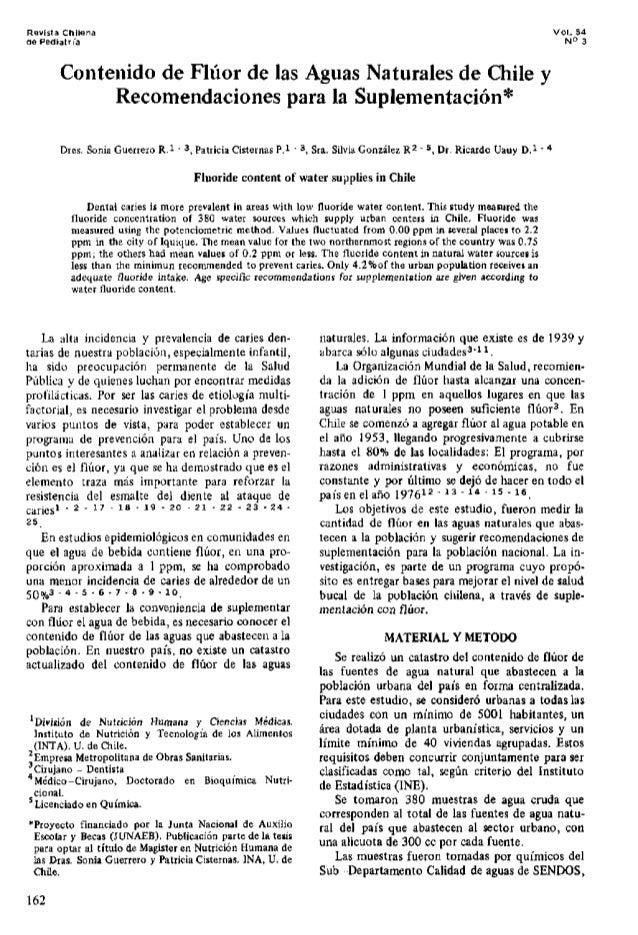 Revista Chflena de Pediatn'a Vol. 54 N° 3 Contenido de Fluor de las Aguas Naturales de Chile y Recomendaciones para la Sup...