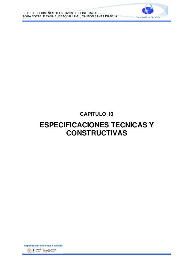 Especificaciones Técnicas del Concurso Público para Construcción del Sistema de Agua Potable para la ciudad de Puerto Villamil
