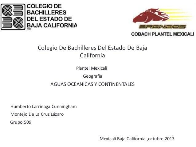 Colegio De Bachilleres Del Estado De Baja California Plantel Mexicali  Geografía  AGUAS OCEANICAS Y CONTINENTALES  Humbert...