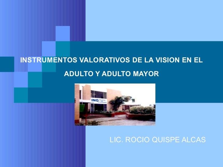INSTRUMENTOS VALORATIVOS DE LA VISION EN EL ADULTO Y ADULTO MAYOR LIC. ROCIO QUISPE ALCAS