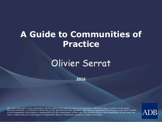 A Guide to Communities of Practice