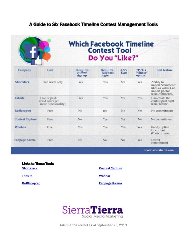 Information correct as of September 25, 2013 A Guide to Six Facebook Timeline Contest Management Tools Links to These Tool...