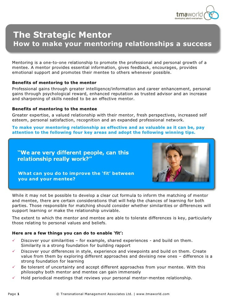 The Strategic Mentor  How to make your mentoring relationships a success  Mentoring is a one-to-one relationship to promot...