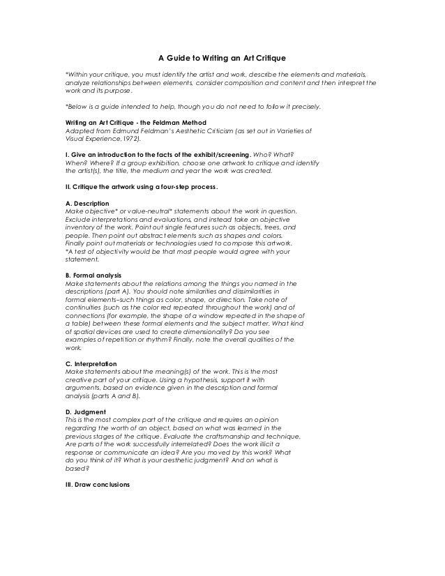 example of critique essay art critique examples how to write my  art history critique essay samples image 7 example of critique essay