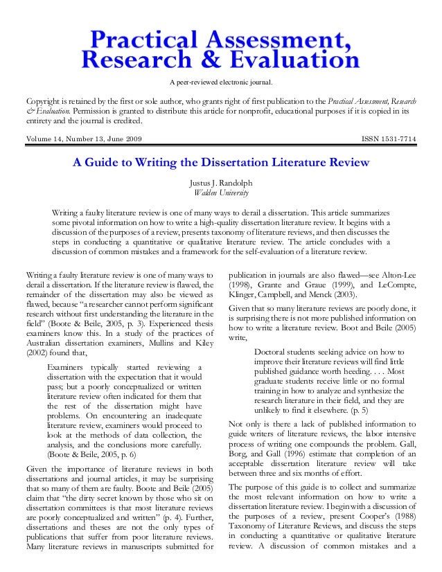 What goes in a dissertation literature review