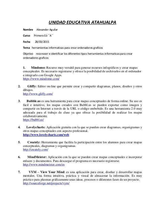 UNIDAD EDUCATIVA ATAHUALPA Nombre Alexander Aguilar Curso Primero Eò ``A`` Fecha 28/03/2015 Tema herramientas informaticas...