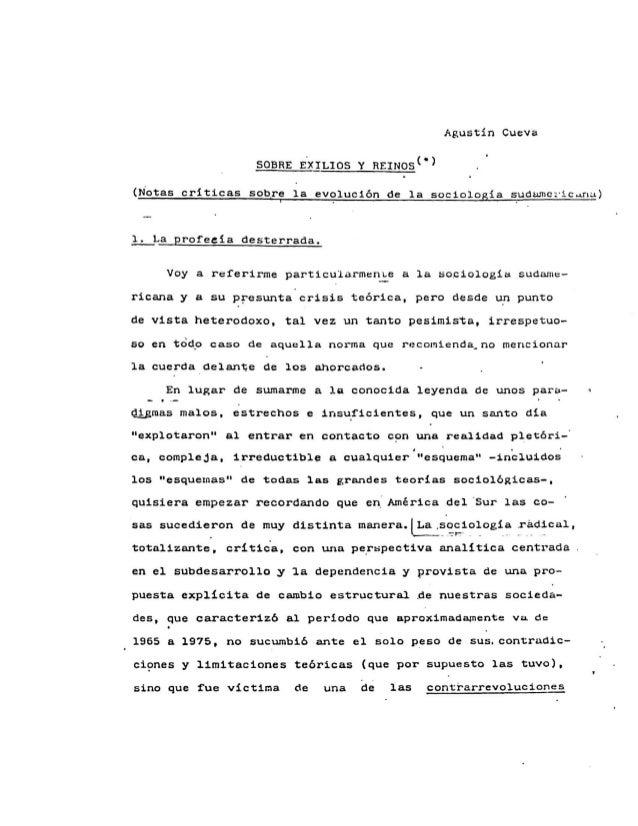 Agustín cueva. sobre exilios y reinos 1989