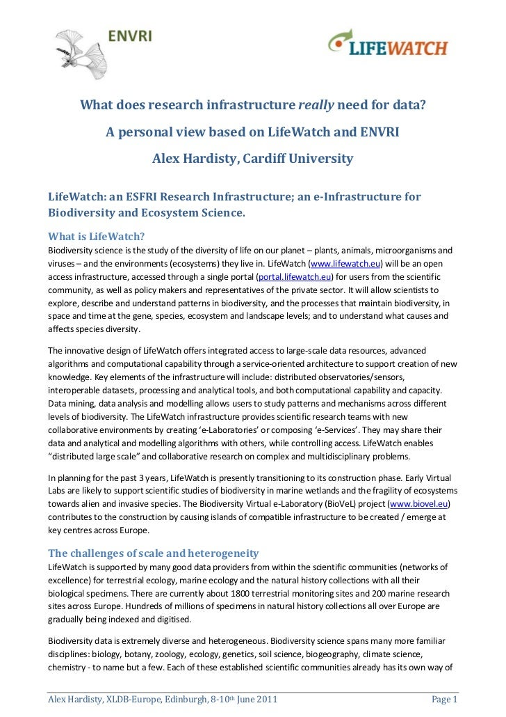 What does research infrastructure really need for data?               A personal view based on LifeWatch and ENVRI        ...