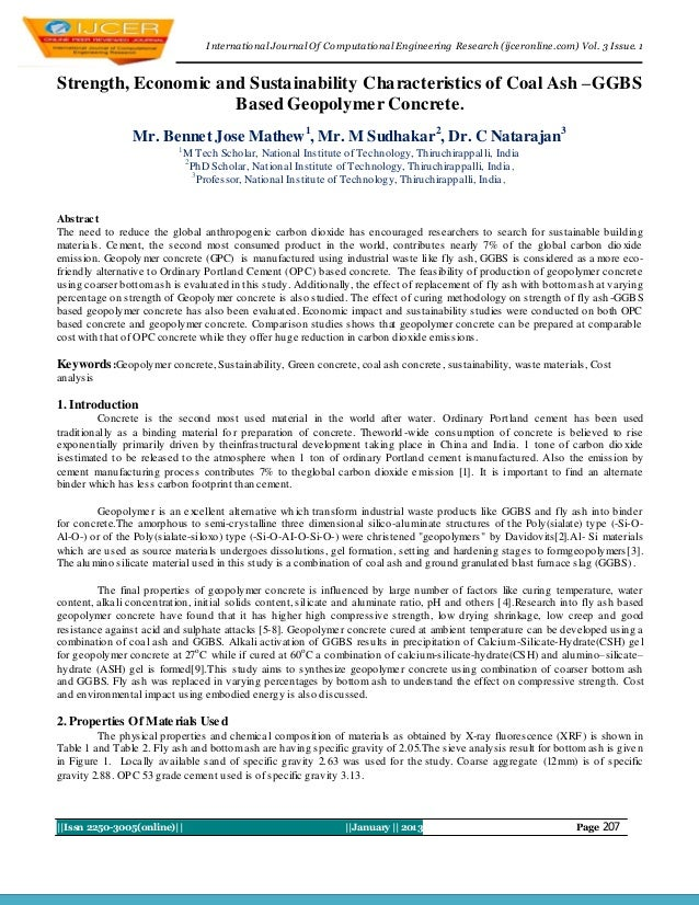 I nternational Journal Of Computational Engineering Research (ijceronline.com) Vol. 3 Issue. 1Strength, Economic and Susta...