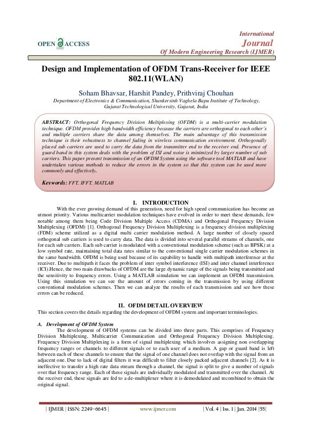 Design and Implementation of OFDM Trans-Receiver for IEEE  802.11(WLAN)