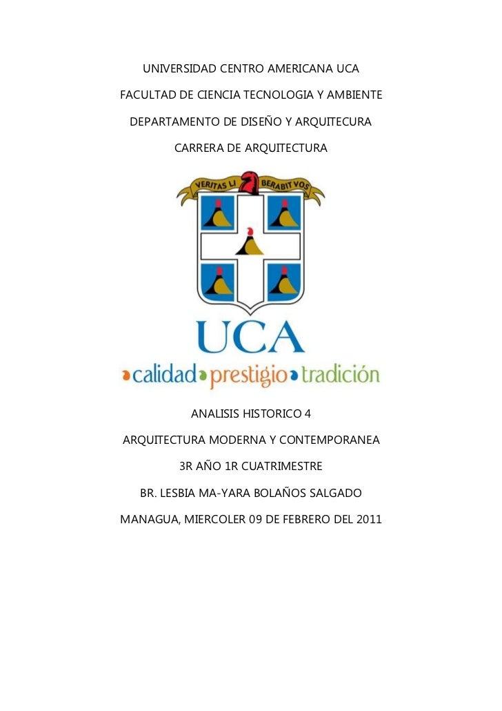 UNIVERSIDAD CENTRO AMERICANA UCA<br />FACULTAD DE CIENCIA TECNOLOGIA Y AMBIENTE<br />DEPARTAMENTO DE DISEÑO Y ARQUITECURA<...