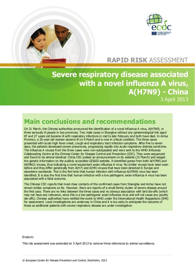 RAPID RISK ASSESSMENT                        Severe respiratory disease associated                               with a no...