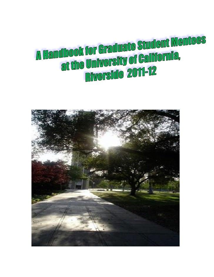 A Handbook for Graduate Mentees 2011 12