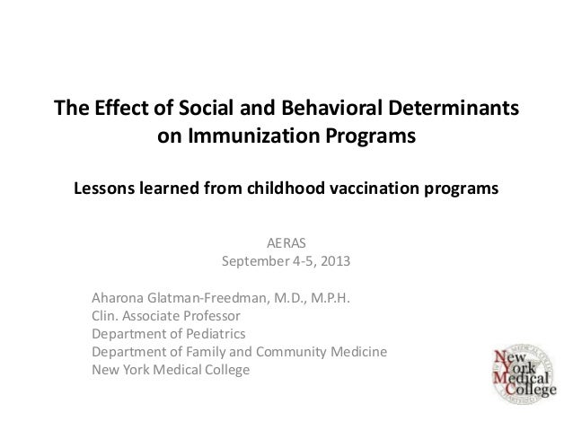 The Effect of Social and Behavioral Determinants on Immunization Programs Lessons learned from childhood vaccination progr...