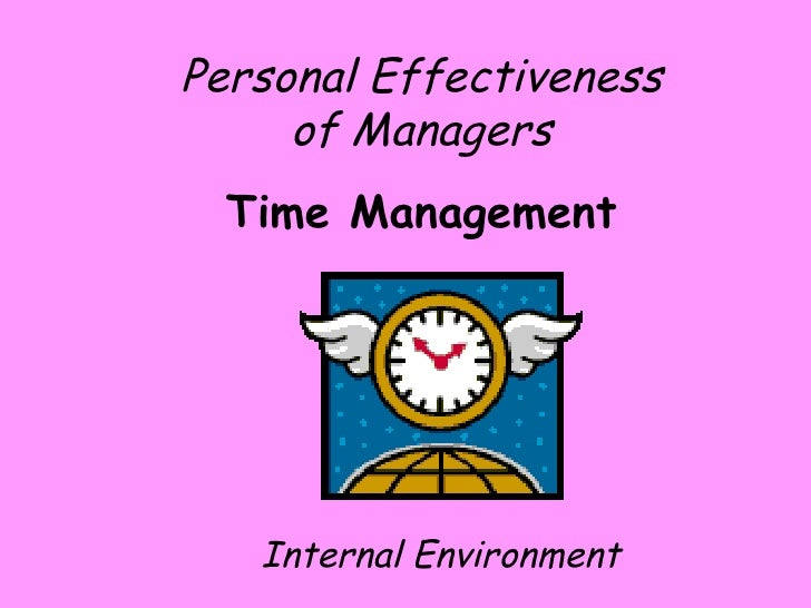 Personal Effectiveness of Managers Time Management Internal Environment