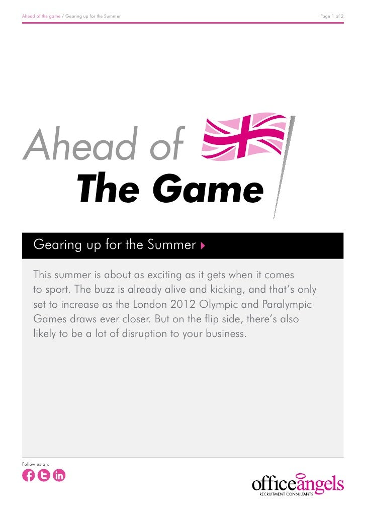 Ahead of the game / Gearing up for the Summer                           Page 1 of 2     Gearing up for the Summer     This...