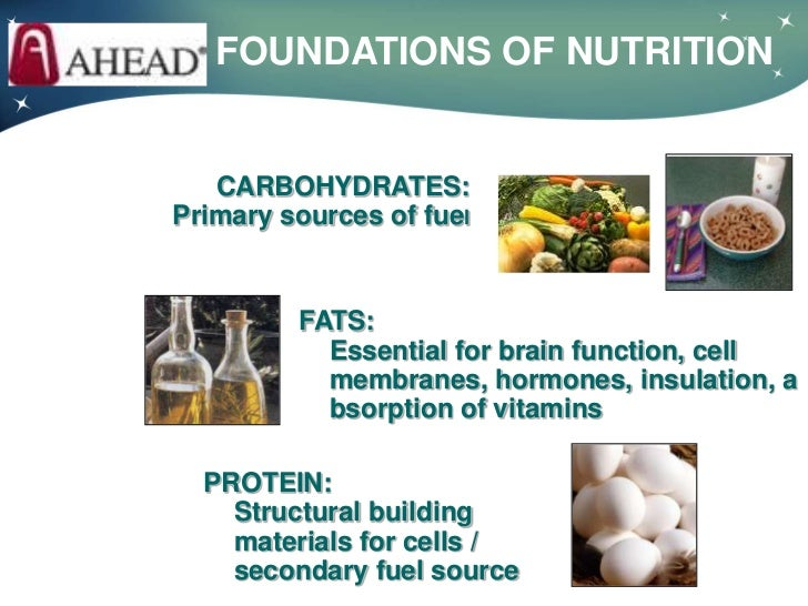 FOUNDATIONS OF NUTRITION   CARBOHYDRATES:Primary sources of fuel         FATS:           Essential for brain function, cel...