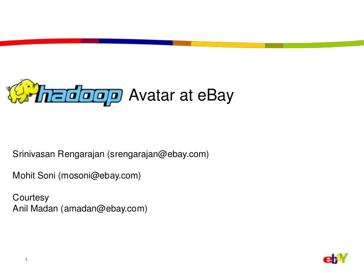 "Apache Hadoop India Summit 2011 talk ""Hadoop Avatar at eBay"" by Srinivasan Rengarajan and Mohit Soni"
