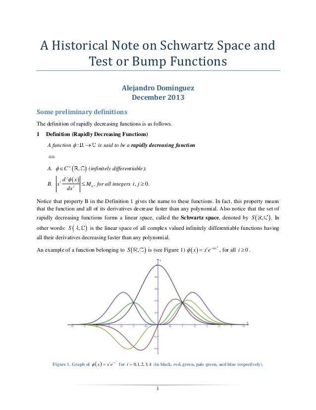 A Historical Note on Schwartz Space and Test or Bump Functions Alejandro Domínguez December 2013 Some preliminary definiti...