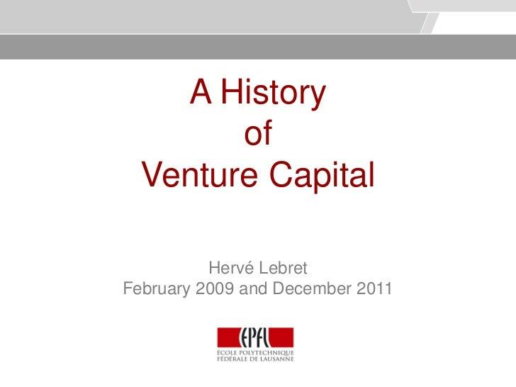 A history of venture capital   lebret - vers 1.1
