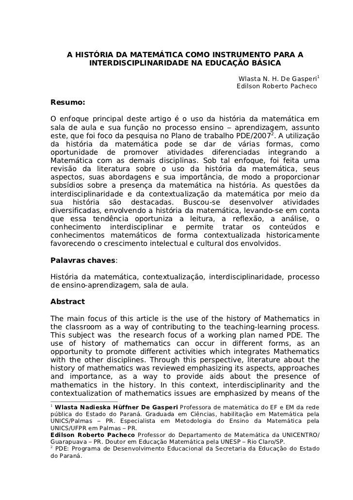 A HISTÓRIA DA MATEMÁTICA COMO INSTRUMENTO PARA A          INTERDISCIPLINARIDADE NA EDUCAÇÃO BÁSICA                        ...