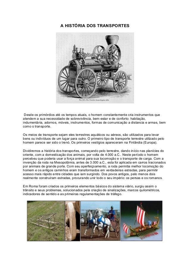 A história dos transportes