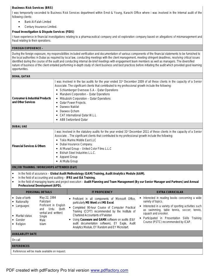 Cover letter cv for Ernst and young resume sample