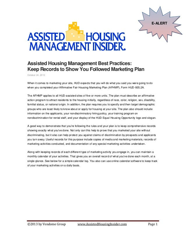 E-ALERT  Assisted Housing Management Best Practices: Keep Records to Show You Followed Marketing Plan October 24, 2013  Wh...