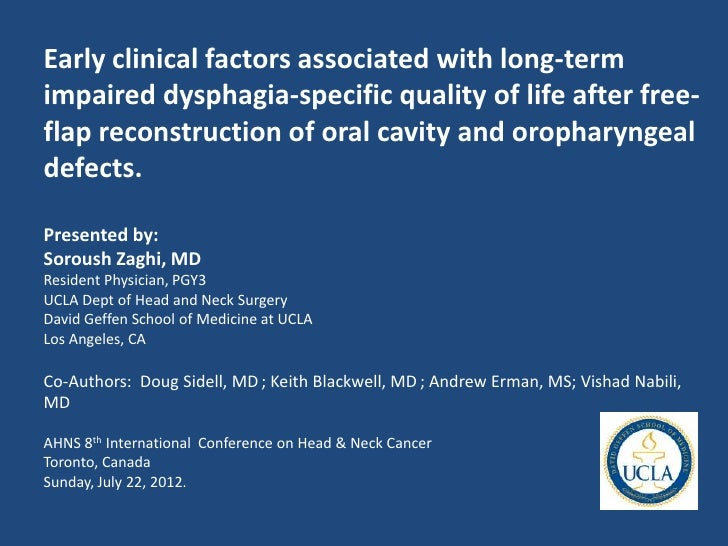 Early clinical factors associated with long-termimpaired dysphagia-specific quality of life after free-flap reconstruction...
