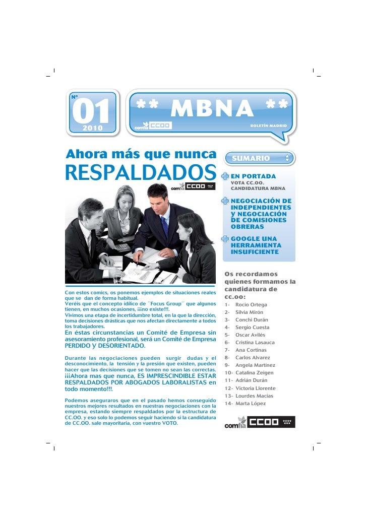 Nº      01   2010                               ** MBNA **                                        BOLETÍN MADRID     Ahora...